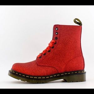 Red glitter Dr Martens boots with ribbon laces
